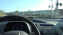 Dashboard Of Car Waiting On Freight Train At Railroad Crossing Stock Footage