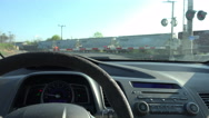Stock Video Footage of Dashboard Of Car Waiting On Freight Train At Railroad Crossing