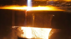 Molten metal in a steel mill - stock footage