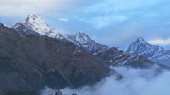 Stock Video Footage of Annapurna south og fishtail clouds