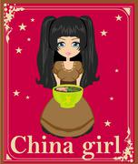 sweet china girl enjoy soup - stock illustration