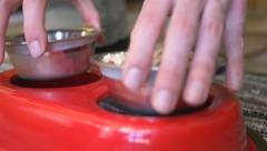 4K Feeding The Dog Bowls With Food Stock Footage