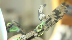 metal mechanical robot arm moves ai - stock footage