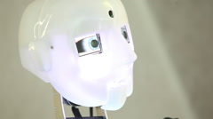 robot head face, artificial intelligence - stock footage