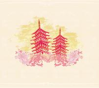 Stock Illustration of old paper with Chinese temple on abstract Asian Landscape
