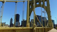 Walking Over Roberto Clemente Bridge Stock Footage