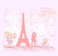 Romantic couple silhouette in Paris kissing near the Eiffel Tower Retro card Piirros