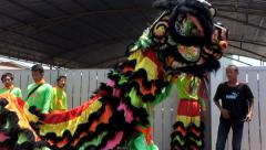 parade Local tradition Thailand, Thai people playing chinese lion dance - stock footage