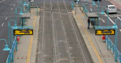 Modern tram station Stock Footage