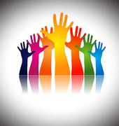 Hands together showing unity Stock Illustration