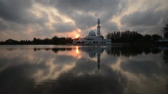 Sunset time lapse at floating mosque,Terengganu. Stock Footage