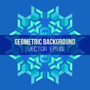 Blue green symmetric abstract geometric mandala background. Stock Illustration