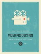 Vintage poster for video production Stock Illustration