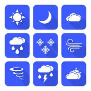 Stock Illustration of flat style solid white color weather forecast icons set.