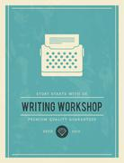 Vintage poster for writing workshop Stock Illustration