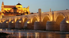 Cordoba, Spain cityscape at the Roman Bridge and Mosque-Cathedral. Stock Footage