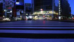5K Time Lapse of Shibuya Crosswalk Night to Day in Tokyo, Japan -Full Frame- Stock Footage