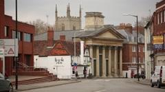 English pub next to a church Stock Footage