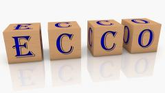 Wooden cubes with inscription ECCO Stock Footage