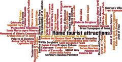 Rome tourist attractions word cloud - stock illustration