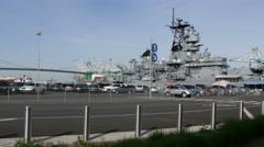 USS Iowa Port of Los Angeles Stock Footage
