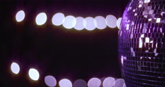 Mirrorball Disco Ball Right Violett Pink Lights Stock Footage