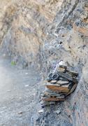 The geodes stone on the sedimentary rock of the Atlas mountain Stock Photos
