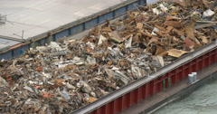 Barge transports waste Stock Footage