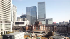 4K Time Lapse of Tokyo Station in the Daytime in Japan -Tilt Down- Stock Footage