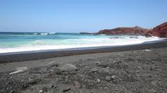 El Golfo bay, Western Lanzarote, Canary islands, Spain Stock Footage