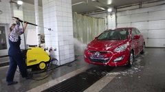 Car Wash Pressure Washer Stock Footage