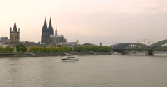 Panorama of Cologne with river Rhine Stock Footage