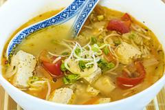 Chinese soup with tofu Stock Photos