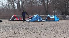 Toronto beach on sunny day with kite surfers Stock Footage