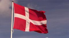 The Danish national flag, the Dannebrog Stock Footage