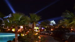 Egypt. Sharm El Sheikh. Hotel territory. Night. - stock footage