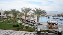 Egypt. Sharm El Sheikh. Hotel territory. The bassin. Stock Footage