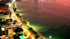 Beach front aerial Sunset day to night time-lapse Stock Footage