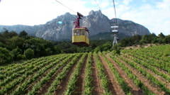 Cableway Over The Vineyard Timelapse - stock footage