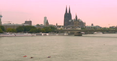 Panorama of Cologne with river Rhine and canoe Stock Footage