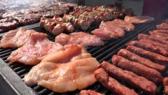 4K Grill Frying Sausage, Kebab, Hamburger and Pork Meat, Barbecue for Picnic Stock Footage