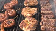Stock Video Footage of Grill, Frying Fresh Meat, Chicken Barbecue, Sausage, Kebab, Hamburger, Picnic