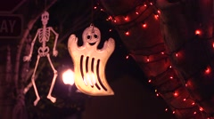 Ghost & Skeleton Hanging From Tree Stock Footage
