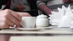 Drinking tea and coffee in public catering Stock Footage