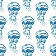 Blue outline jellyfish seamless pattern - stock illustration