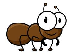 Cartoon cute brown ant character - stock illustration