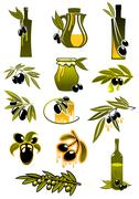 Olive oil bottles with branches and olives Stock Illustration