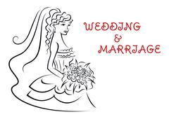 Wedding invitation card with pretty bride Stock Illustration