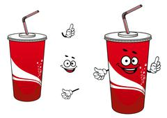 Cola or soda cartoon character Stock Illustration