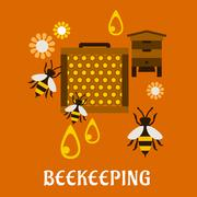 Flat beekeeping concept with beehive and bees - stock illustration